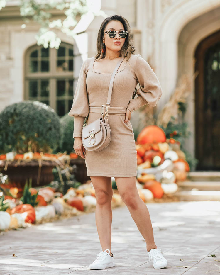 cute & little | popular dallas fashion blog | ray-ban clubmaster tortoise aviator sunglasses kohl's | shein balloon sleeve belted sweater dress | chloe small tess shoulder bag, j.crew leopard white sneakers | fall transition outfit |  Iconic Classic Style In Ray Ban Sunglasses by popular Dallas petite fashion blog, Cute and Little: image of a woman standing outside by a pile of pumpkins and wearing a pair of Kohls Ray-Ban RB3016 Clubmaster Classic 51mm Square Polarized Sunglasses, SHEIN SHEIN Bishop Sleeve Belted Sweater Dress, and J. Crew Saturday sneakers with leopard calf hair detail.