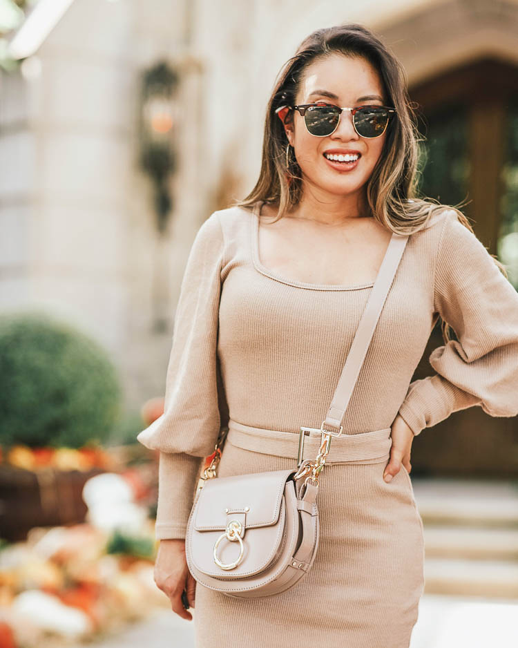 cute & little | popular dallas fashion blog | ray-ban clubmaster tortoise aviator sunglasses kohl's | shein balloon sleeve belted sweater dress | chloe small tess shoulder bag, j.crew leopard white sneakers | fall transition outfit