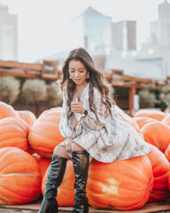 cute & little | popular dallas fashion blog | gibson snakeskin print dress, dsw crocodile print lyla black knee high boots | fall dressed up outfit