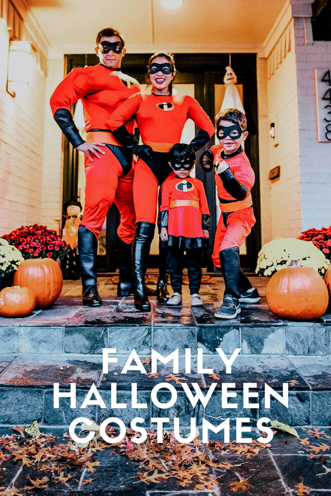 cute & little | dallas family fashion blog | family 4 group halloween costume ideas | Last Minute Halloween Costumes for Families by popular Dallas petite life an style blog, Cute and Little: image of a family wearing Amazon Disguise Incredibles costumes.