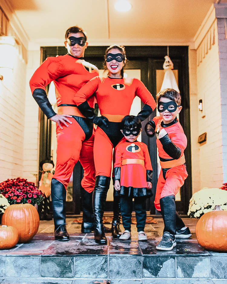 cute & little | dallas family fashion blog | family 4 group halloween costume idea | the incredibles family costume | Last Minute Halloween Costumes for Families by popular Dallas petite life an style blog, Cute and Little: image of a family wearing Amazon Disguise Incredibles costumes.