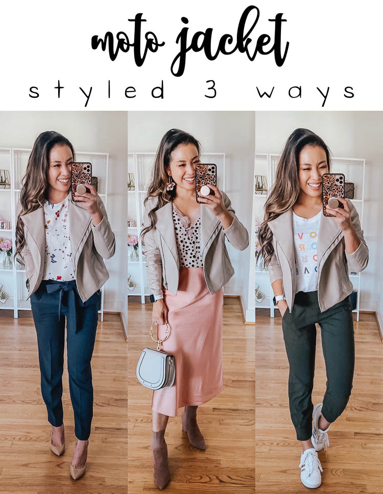 Moto Jacket Outfits x 3: Styled For The Office, Date Night, and Athleisure