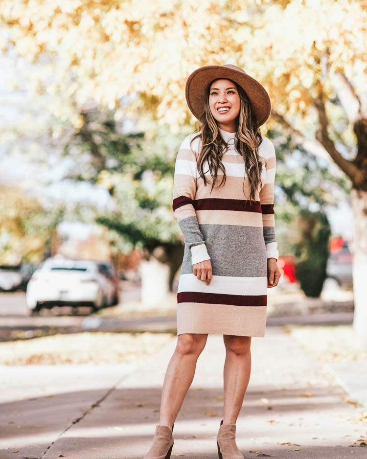 cute & little | popular dallas petite fashion blog | loft striped sweater dress outfit, felt fall hat, ankle booties | fall winter work outfit | Cute Sweater Dresses by popular Dallas petite fashion blog, Cute and Little: image of a woman outside wearing a Loft STRIPED MOCK NECK SWEATER DRESS, and Nordstrom Treasure and Bond Snakeskin Trim Wool Panama Hat.