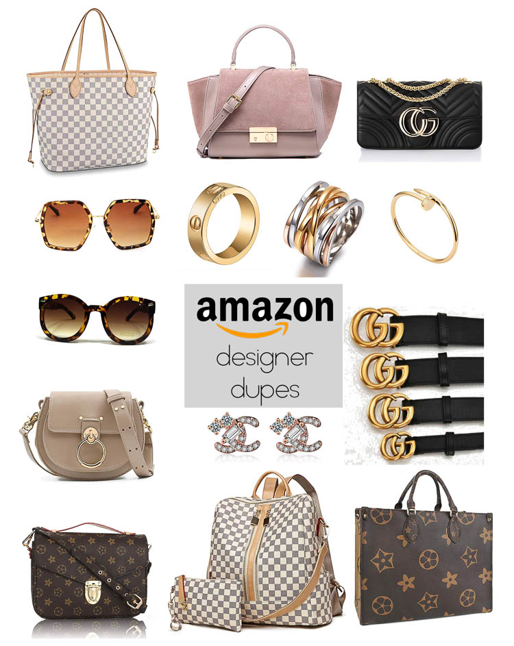 cute & little | dallas petite fashion blog | amazon designer dupes | Top 20 Amazon Designer Dupes by popular petite fashion blog, Cute and Little: collage image of various Amazon designer dupes.