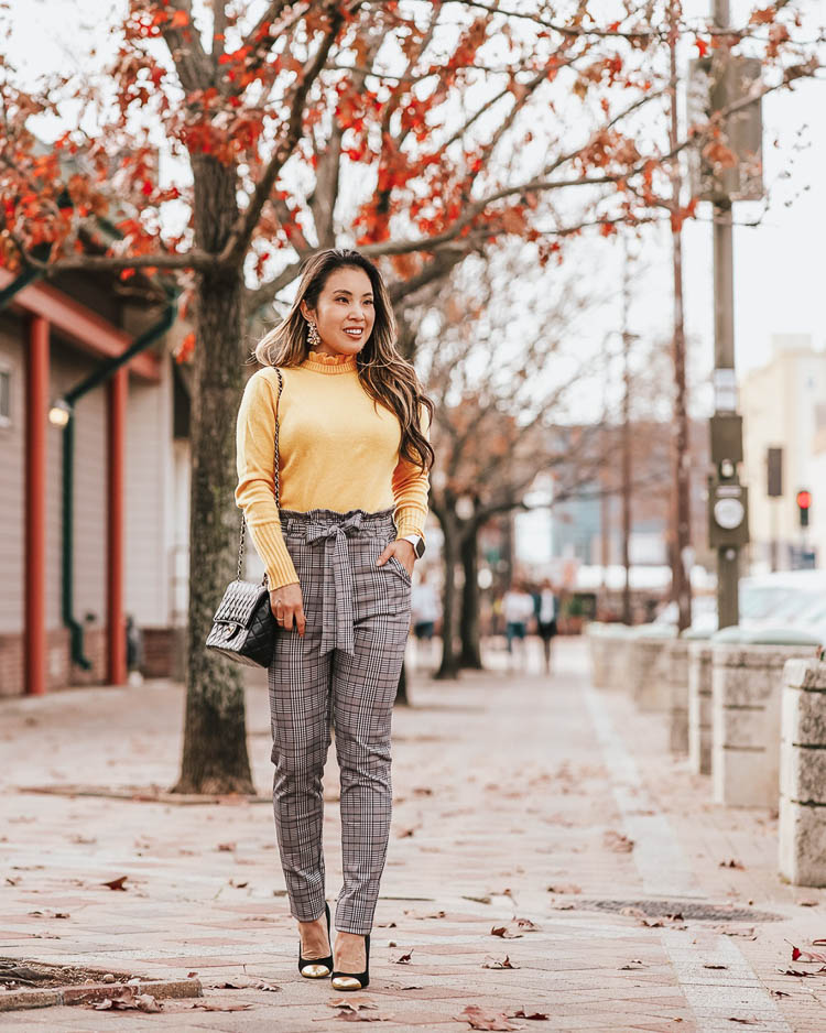 cute & little | dallas petite fashion blog | j.crew yellow ruffle neck sweater, shein paperbag glen plaid pants | work office business casual outfit