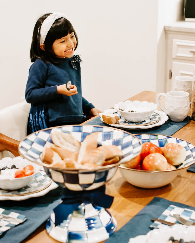 cute & little | mackenzie childs royal check dining table setting spring tablescape | family dining table setup