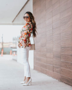 cute & little | dallas petite fashion blog | floral bell sleeve blouse, jen7 jeans | spring transition outfit