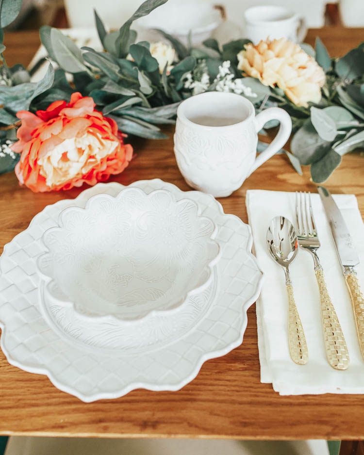 cute & little blog | dallas lifestyle influencer | mackenzie childs sale | easter table decor | mackenzie childs sweetbriar table setting tablescape | Mackenzie Childs Sale by popular Dallas life and style blog, Cute and Little: image of a table set with a Mackenzie Childs Sweetbriar Vase, Sweetbriar Charger, Sweetbriar Bowl, Sweetbriar Mug, Gold Check Flatware
