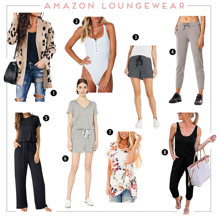 cute & little blog | amazon loungewear work from home outfit | Amazon Work From Home by popular Dallas petite fashion blog, Cute and Little: collage image of leopard cardigan (similar), henley bodysuit, knit shorts,  joggers, wide-leg jumpsuit, romper, twist-hem top, jumpsuit