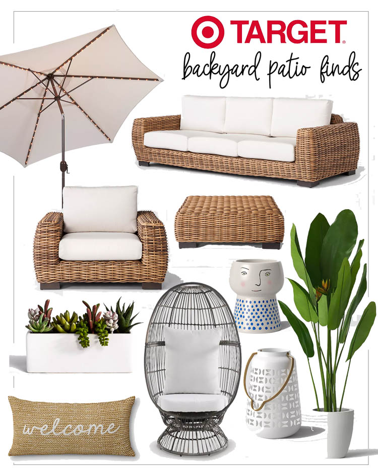"cute & little | dallas fashion lifestyle blogger | target outdoor backyard patio | Backyard Patio by popular Dallas life and style blog, Cute and Little: collage image of a Target 9' Round Lighted Patio Umbrella, Target Eldridge Wicker Patio Sofa with Sunbrella Cushions, Eldridge Wicker Patio Club Chair with Sunbrella Cushions , Target Eldridge Wicker Square Patio Coffee Table, Target 3.5"" x 3.5"" Artificial Succulents In Pot Green/White, Target Stoneware Family Planter, Target Welcome Woven Outdoor Lumbar Decorative Pillow Tan, Target Latigo Swivel Patio Egg Chair Brown, Target Metal Perforated Outdoor Lantern White, and Target 49.5"" Bird of Paradise in White Pot."