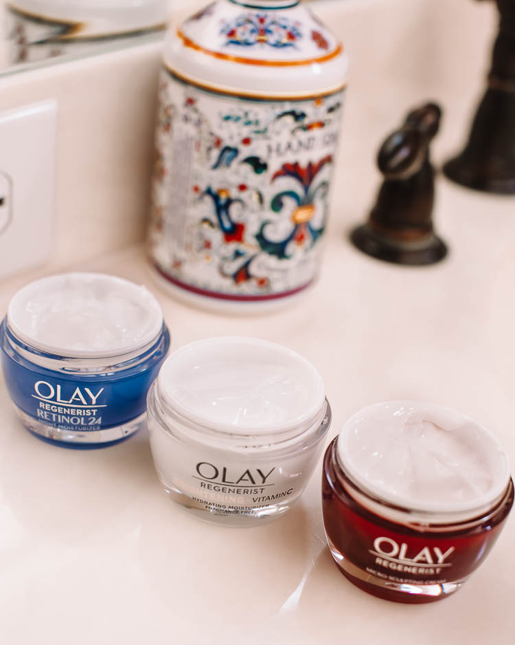 cute & little | dallas beauty skincare blog | anti-aging skincare routine for 30s | olay top drugstore skincare | olay retinol 24 vs micro-sculpting cream vs brightening + vitamin c hydrating moisturizer cream comparison |  Olay Skin Care by popular Dallas lifestyle blog, Cute and Little: image of Olay Regenerist Micro-Sculpting Cream Face Moisturizer, Olay Regenerist Brightening Vitamin C Facial Moisturizer, and Olay Regenerist Retinol 24 Night Facial Moisturizer.