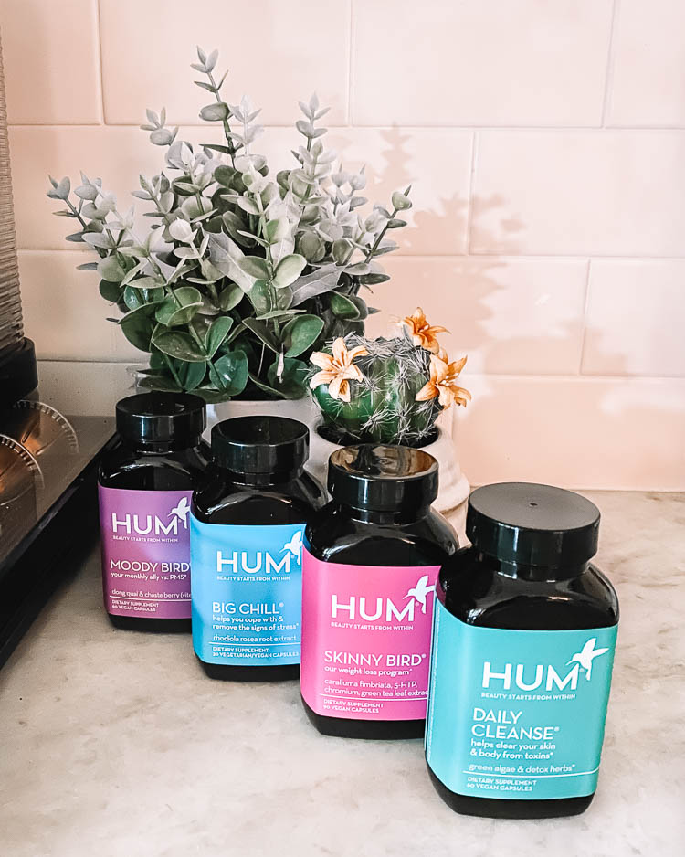cute & little | dallas mom beauty wellness blog | hum nutrition review | daily cleanse, big chill, skinny bird, moody bird supplements | Supplement Review by popular Dallas lifestyle blog, Cute and Little: image of Moody Bird, Big Chill, Skinny Bird, and Daily Cleanse HUM Nutrition supplement bottles.