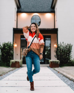 cute & little | dallas petite fashion blog | target colorblock striped sweater, born syd ankle boots, clare v leopard crossbody camera bag | fall casual outfit