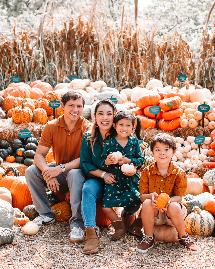 cute & little | dallas fashion blogger | fall coordinating family photo outfit ideas | dallas arboretum pumpkin patch village | Family Outfits by popular Dallas petite fashion blog, Cute and Little: image of a family sitting in a pile of pumpkins and wearing a green blouse, rust color polo, orange button up, brown fabric sneakers, Rvca jeans, American Eagle AE Ne(x)t Level High Waisted Jegging,BEARPAW Koko Buckle Strap Faux Fur & Genuine Sheepskin Lined Boot,Nike Killshot 2 Leather,BEARPAW Kids' Rosie Fashion Boot,The Children's Place Boys Pull-on Cargo Shorts, and green fox print dress.