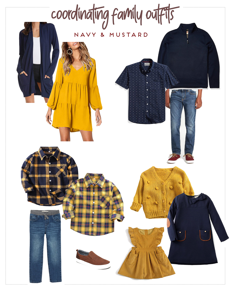 cute & little | dallas fashion blogger | fall coordinating family photo outfit ideas |Family Outfits by popular Dallas petite fashion blog, Cute and Little: collage image of a navy cardigan, mustard yellow tiered dress, yellow and blue plaid shirt, pull on jeans, brown slide-on sneakers, blue button up short sleeve shirt, navy pull over, jeans, mustard yellow cardigan, blue dress, and mustard yellow pinafore.