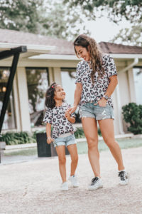 cute & little | dallas petite fashion mom blog | matching leopard shirt, jean shorts, golden goose superstar sneakers review dupes | mommy daughter matching outfits