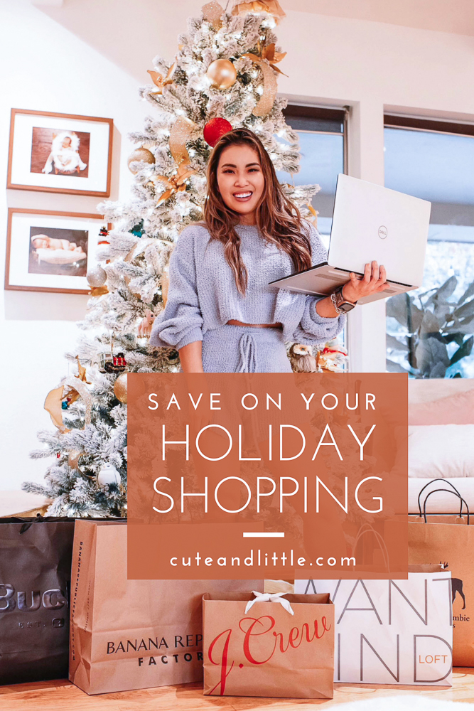 cute & little | dallas petite fashion blog | how to save money on holiday shopping | ibota browser extension review |Saving Money on Christmas Shopping by popular Dallas lifestyle blog, Cute and Little: Pinterest image of a woman standing in front of her flocked Christmas tree and wearing a sweater lounge set while being surrounded by shopping bags.