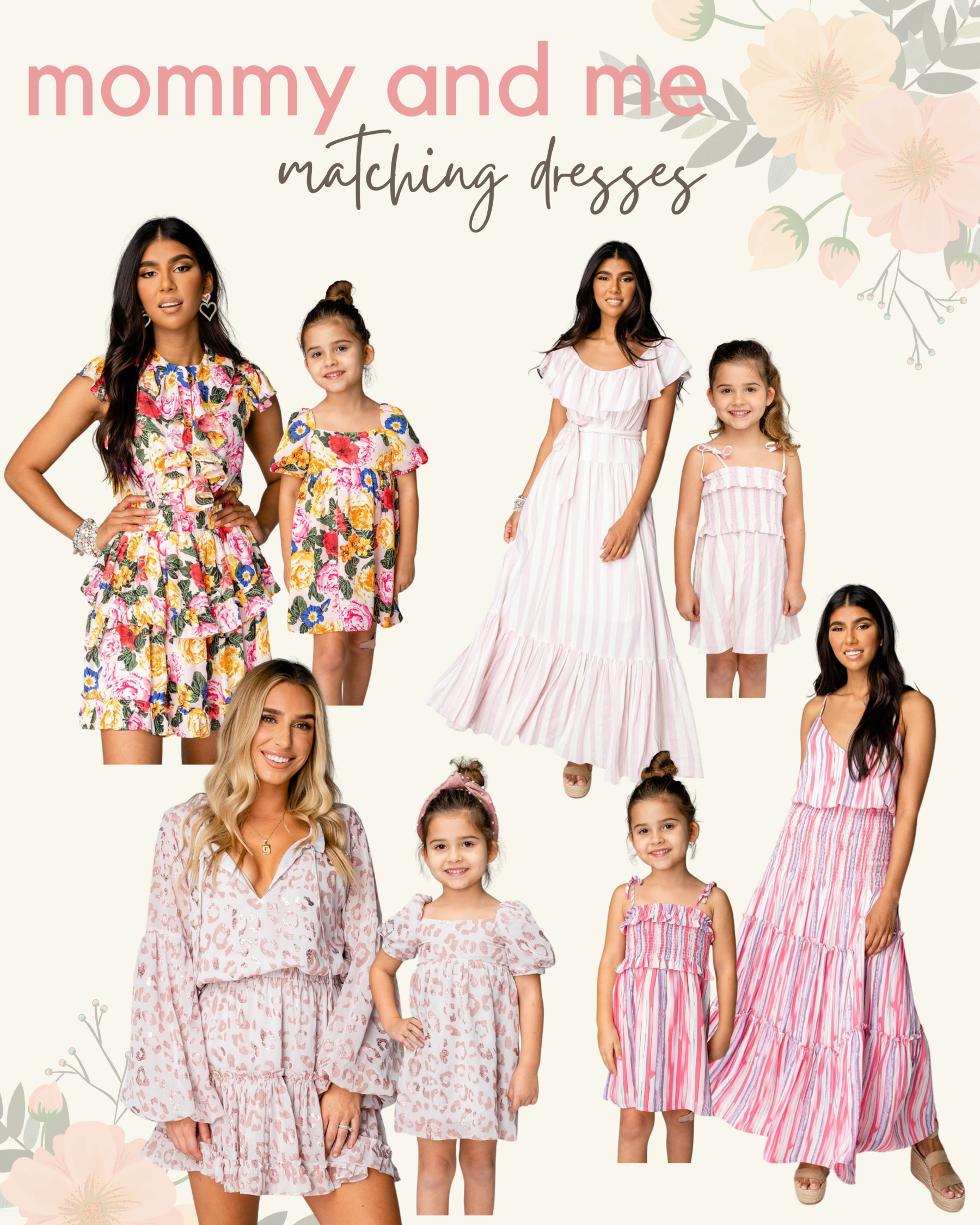 cute & little | dallas mom petite fashion blog | chicwish matching mom daughter dresses mothers day easter beach vacation photoshoot outfit |Mommy and Me Dresses by popular Dallas petite fashion blog, Cute and Little: collage image of mommy and me dresses.