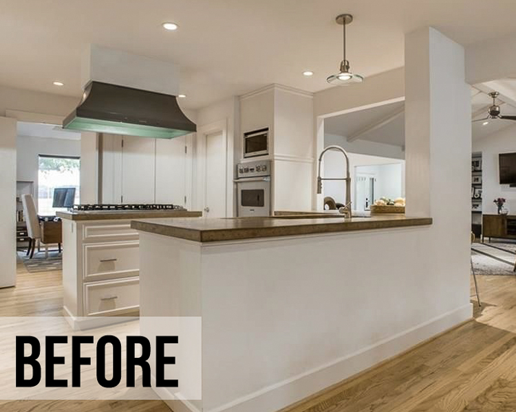 cute & little | dallas home blogger | white kitchen remodel mid-century modern | Mid Century Modern Kitchen by popular Dallas life and style blog, Cute and Little: image of a kitchen with dark counter tops, dark lighting, and white cabinets.