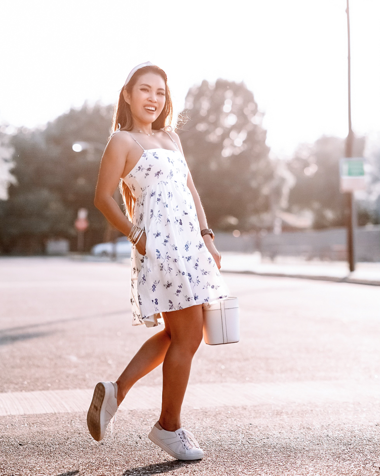 cute & little | dallas petite fashion blogger | abercrombie white blue floral sundress, white sneakers | casual summer outfit