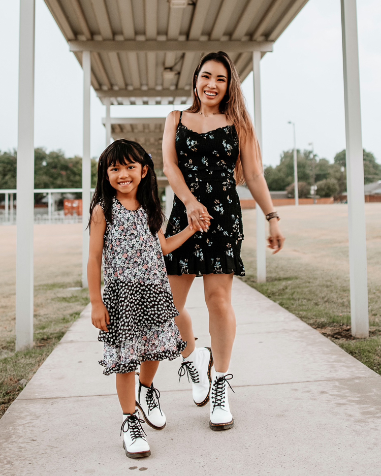cute & little | dallas petite fashion mom blogger | twinning mom daughter white doc marten combat boots | fall outfit