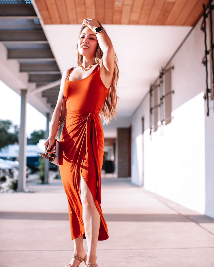 cute & little   dallas petite fashion blogger   Amazon summer 2021 wrap dress must-have   Amazon Dress by popular Dallas petite fashion blog, Cute and Little: image of a woman wearing a Amazon dress, braided strap block heel sandals, oversized sunglasses, and a Tory Burch Carson bag.